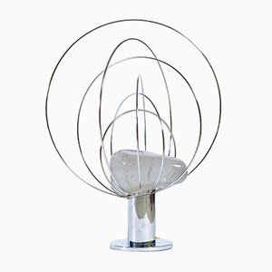 Lámpara de mesa de cristal de Murano y metal cromado de Angelo Brotto para Esperia, años 60