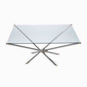 Mesa de centro francesa de latón con tablero de vidrio, años 70