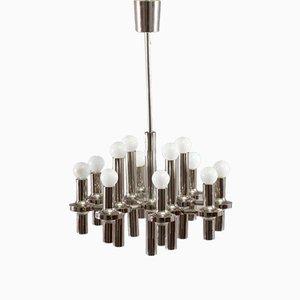 Lámpara de araña de cromo de Gaetano Sciolari, años 70