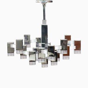 Lustre Cubic par Gaetano Sciolari, 1970s