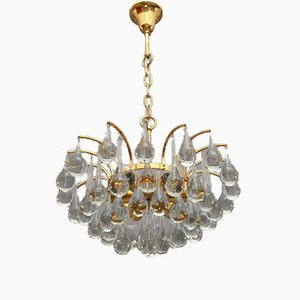 Gilded Tear Drop Crystal Glass Chandelier from Palwa, 1970s