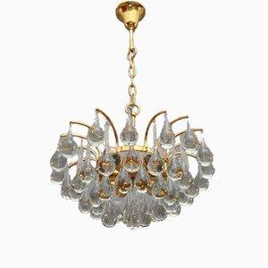 Lámpara de araña de gotas de cristal doradas de Palwa, años 70