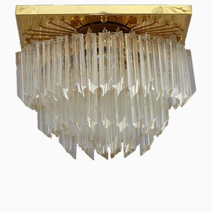 Gilded Rectangular Crystal Glass Flush Mount from Palwa, 1970s