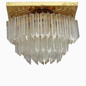 Luz de montaje rectangular dorada de cristal de Palwa, años 70
