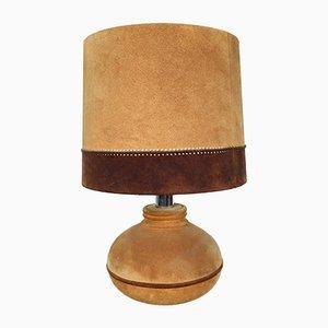 Große Leder Tischlampe, 1970er
