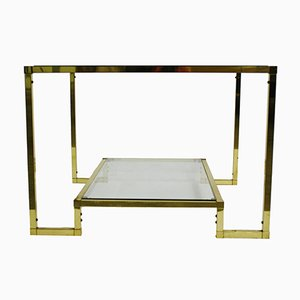French Brass Two Tier Coffee Table with Glass, 1970s