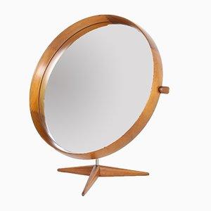 Espejo de mesa sueco de teca de Uno & Osten Kristiansson para Luxus, años 60