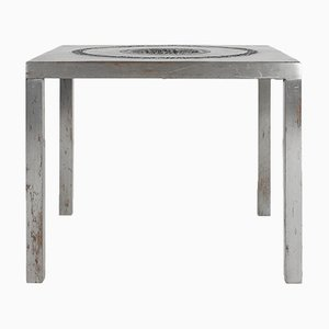 Brutalist Aluminium Ashtray Table, 1970s