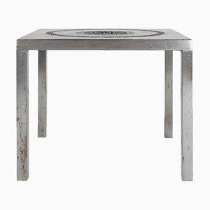 Tavolino con posacenere brutalista in alluminio, anni '70