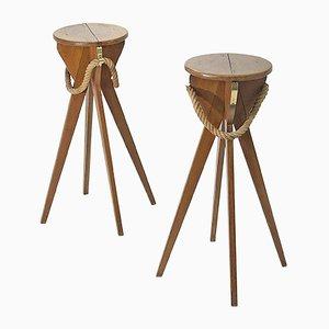 Holz & Seil Hocker von Adrien Audoux & Frida Minet, 1940er, 2er Set