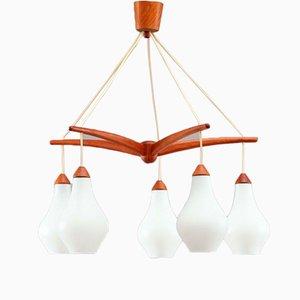 Lámpara de araña sueca Mid-Century de vidrio y teca en forma de pulpo