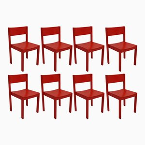 Mid-Century Modern Red Dining Room Chairs from E & A Pollack, Set of 8
