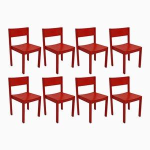 Rote Mid-Century Modern Esszimmerstühle von E & A Pollack, 8er Set