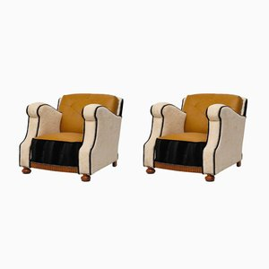 Velvet and Leather Art Deco Armchairs, 1930s, Set of 2