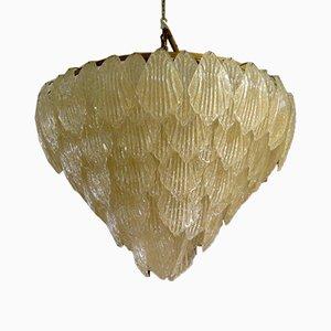 Goldfarbener Murano Glas Kronleuchter, 1950er