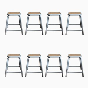 Vintage Industrial Military Stools, Set of 8