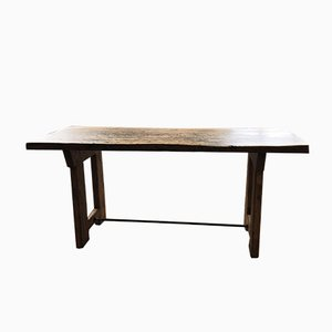 Mesa de comedor industrial de madera, años 50