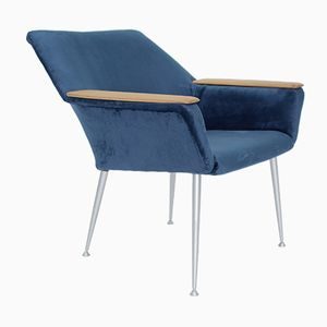 German Blue Velvet Shell Armchair, 1970s