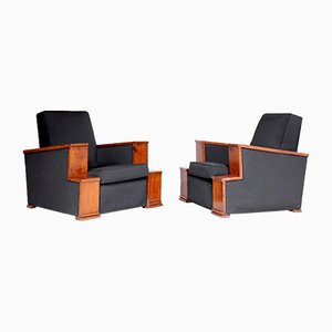 Vintage Art Deco French Rosewood Armchairs, 1930s, Set of 2