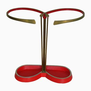 Space Age Red Brass Umbrella Stand, 1950s