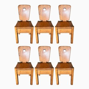 Chaises de Salon en Orme, 1970s, Set de 6