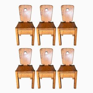 Ulmenholz Esszimmerstühle, 1970er, 6er Set