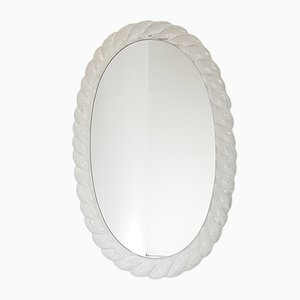 Space Age German Frosted Resina Backlit Oval Mirror, 1970s