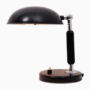 Lámpara de escritorio vintage de cromo lacada en negro