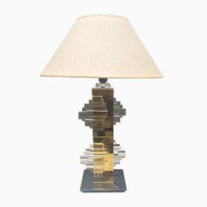 Lámpara de mesa de latón y cromo de Gaetano Sciolari, años 70
