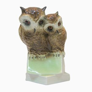 Vintage French Porcelain Owls Lamp