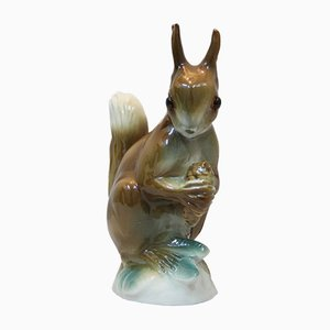 Art Deco Porcelain Squirrel with Pine Cone Lamp