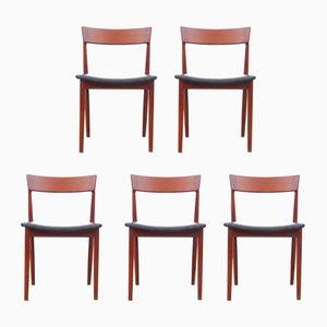 Skandinavische Vintage Stühle aus Teakholz von Henry Rosengren Hansen für Brande Møbelindustri, 5er Set