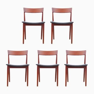 Vintage Scandinavian Teak Chairs by Henry Rosengren Hansen for Brande Møbelindustri, Set of 5