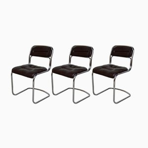 Mid-Century Chromed Metal and Skai Chairs, 1970s, Set of 3