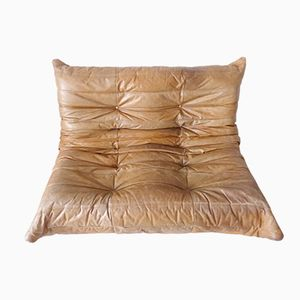 Brown Leather Togo Sofa by Michel Ducaroy for Ligne Roset, 1970s
