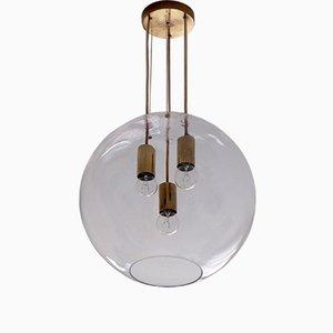 Luz colgante sueca de vidrio y latón, años 60