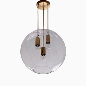 Swedish Glass and Brass Light Pendant, 1960s