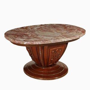 Mesa de chapa de nogal, madera sólida y mármol, años 50