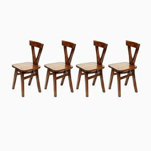 Sedie vintage in legno, set di 4
