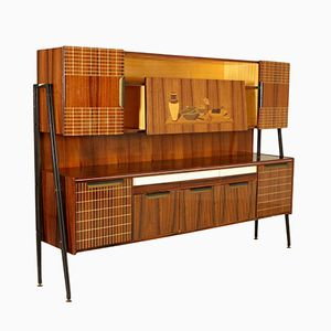Cupboard in Rosewood Veneer with Inlaid Decoration, 1960s