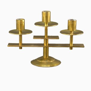 Danish Symmetrical Solid Brass Candle Holder from Dan Present, 1960s