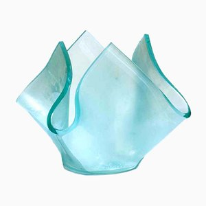 Aquamarine Acid Crystal Vase from Fontana Arte, 1950s