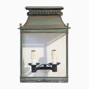 Antique French Steel and Glass Wall Lamp