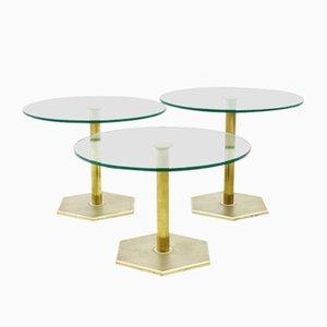 Tavolini a incastro vintage in ottone e vetro
