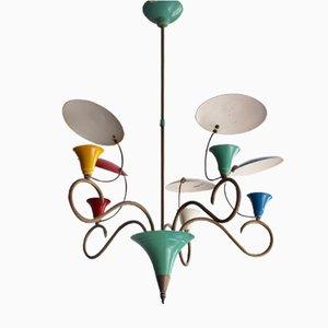 Lámpara de araña Mid-Century colorida con reflectores, años 50