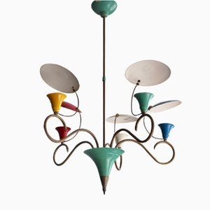 Mid-Century Colorful Chandelier with Reflectors, 1950s