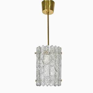 Lámpara colgante sueca moderna cilíndrica de cristal de Carl Fagerlund para Orrefors, años 60