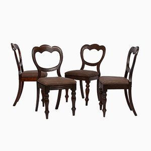Antique Dining Chairs with Brown Leather Seats, Set of 4