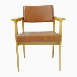 Mid-Century Leatherette & Light Oak French Chairs, 1950s, Set of 2