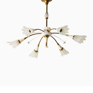 Mid-Century French Glass, Brass & Porcelain Chandelier, 1950s